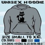BLACK CAT GOTH UNISEX HOODIE HOODED TOP L@@K